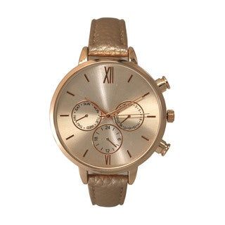 Olivia Pratt Women's Classic Style Faux Chronograph Skinny Leather Strap Watch One Size