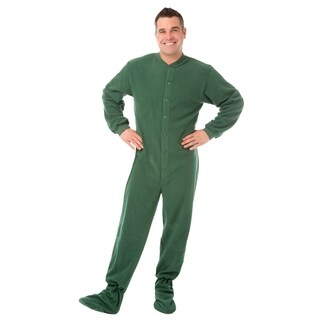Big Feet Pajamas Unisex Hunter Green Fleece Adult Footed One-piece Pajamas