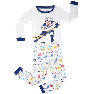 Elowel Boys 'Hockey Player' Multicolored Cotton 2-piece Pajama Set (Size2Y-8Y)