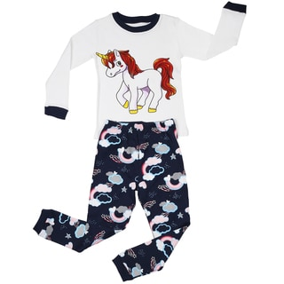 Elowel Girl's Unicorn 100-percent Cotton 2-piece Pajama Set