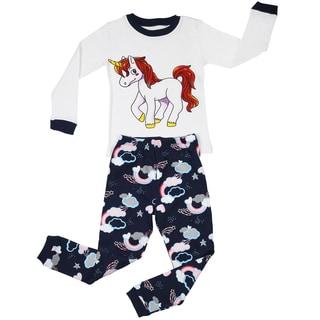 Elowel Girl's Unicorn 100-percent Cotton 2-piece Pajama Set