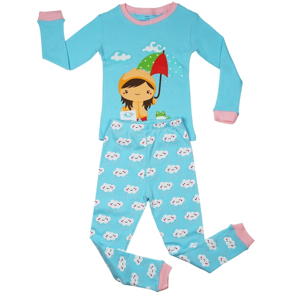 Elowel Girls' Rainy Girl Blue Cotton 2-piece Pajama Set