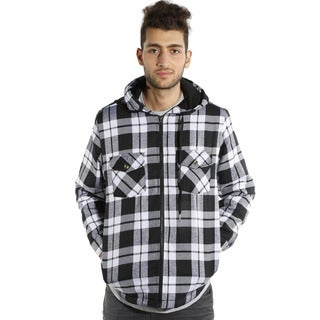 Men's Hooded Flannel Plaid Hooded Jacket