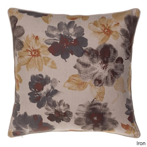 Enlarged Flora Cotton Blend 24 x 24-inch Down Feather Fill Throw Pillow