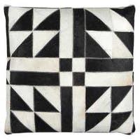 Rizzy Home Leather and Cotton 20-inch x 20-inch Geometric Sewn Genuine Fur Decorative Filled Throw Pillow