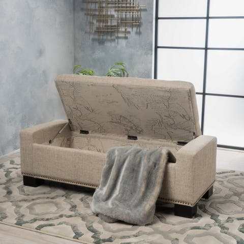 Explorer Fabric Storage Ottoman with studs by Christopher Knight Home
