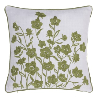 Blooming Springs Organic Cotton/Linen Embroidered Throw Pillow