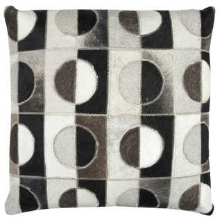 Rizzy Home Geometric Leather/ Cotton Decorative Throw Pillow