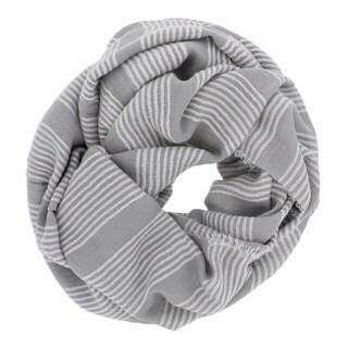 LA77 Grey Acrylic and Viscose Striped Infinity Loop Scarf