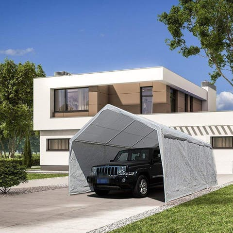 Arviat White Carport Car Canopy Shelter with Steel Frame by Havenside Home