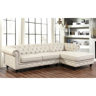 Abbyson Windsor Italian Fabric Tufted Chesterfield Sectional