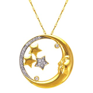 Beverly Hills Charm 14k Yellow Gold 1/6ct TDW Diamond Moon and Stars Necklace