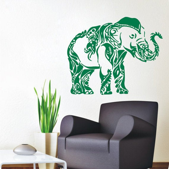 Shop Decorated Ganesha Wall Decals Indian Elephant Animals Home ...