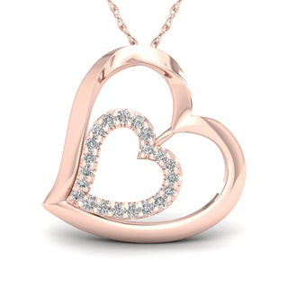 Link to De Couer  IGI Certified 10k Rose Gold 1/8ct TDW Diamond Tilted Double Heart Necklace - Pink Similar Items in Necklaces