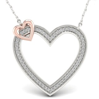De Couer 10k Pink Two-Tone White Gold 1/5ct TDW Diamond Accent Circle Necklace