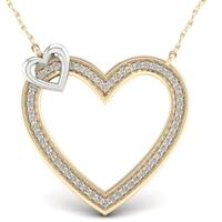 De Couer 10k White Two-Tone Yellow Gold 1/5ct TDW Diamond Accent Circle Necklace