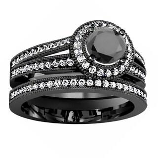 Elora Black Rhodium Plated 14k White Gold 1 1/4 ct. TDW Round Diamond Bridal Engagement Ring Set (H-I & Black, I1-I2 & Opaque)