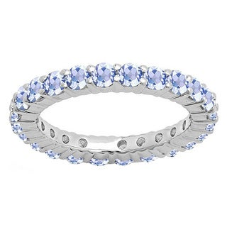 Elora 14k Gold 1 ct. Round Tanzanite Ladies Eternity Wedding Anniversary Stackable Ring Band (Blue & Moderately Included)