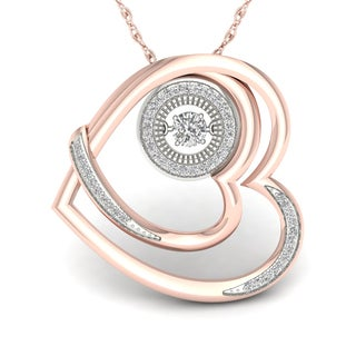 De Couer 10K Rose Gold 1/4ct TDW Diamond Heart and Heart Beat Convertible Necklace - Pink