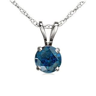 Elora 14k White Gold 1/2 ct. TDW Round Blue Diamond Ladies Solitaire Pendant (Silver Chain Included) (Blue & I2-I3)