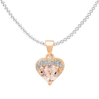 Elora 14k Rose Gold 5/8 ct. Heart Cut Morganite & Round Diamond Ladies Heart Pendant (Silver Chain Included) (I-J & Pink, I2-I3)