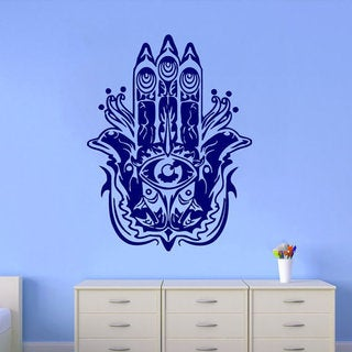 Fatima Hand Wall Decal Indian Pattern Fish Hamsa Decals Mandala Wall Decor Interior Design Sticker D