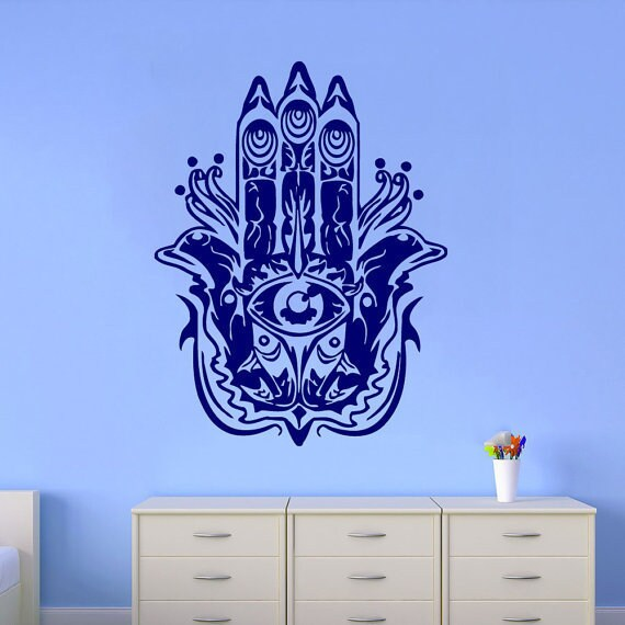 Fatima Hand Wall Decal Indian Pattern Fish Hamsa Decals Mandala Decor Interior Design Sticker