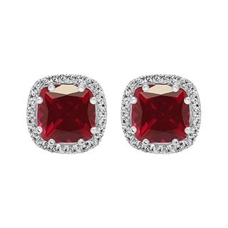 Elora 14k Gold 2 3/8 ct. Cushion Cut Ruby & Round Diamond Ladies Halo Style Stud Earrings (I-J & Red, I2-I3 & Highly Included)