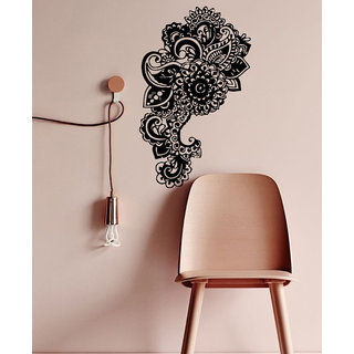 Decorated Elephant Wall Decals Indian Elephant Head Home Interior Floral Design Ganesha Art Sticker Decal size 33x45 Color Black