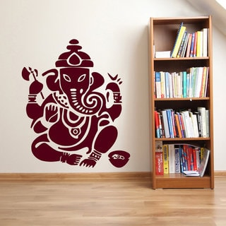 Ganesha Lord Wall Decals Indian Animals Elephant Yoga Decal Gym Wall Decor Interior Decor Sticker Decal size 44x60 Color Black