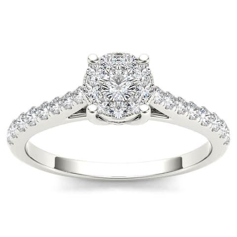 De Couer 10k White Gold 1/2ct TDW Diamond Cluster Ring