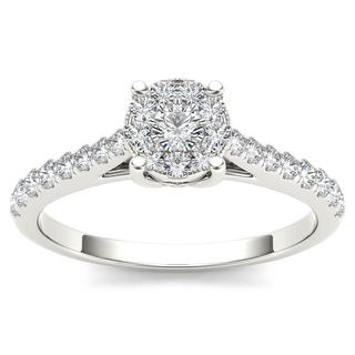 De Couer 10k White Gold 1/2ct TDW Diamond Cluster Ring
