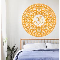 Mandala Wall Decals Indian Pattern Om Symbol Oum Sign Vinyl Sticker Floral Interio Design Sticker Decal size 48x48 Color Black