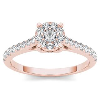 De Couer 10k Rose Gold 1/2ct TDW Diamond Cluster Ring - Pink