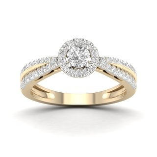 De Couer 10k Yellow Gold 1/2ct TDW Diamond Cluster Ring (H-I, I2)