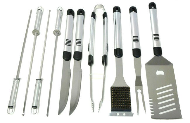 Daxx Stainless Steel 10-piece BBQ Set with Case