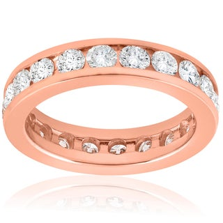 14K Rose Gold 2 CT TDW Diamond Channel Set Eternity Wedding Ring