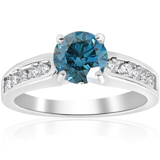 14K White Gold 1 1/2 ct TDW Blue Diamond Engagement Ring (Blue)