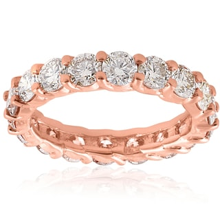 14K Rose Gold 3 CT TDW Diamond U Prong Eternity Wedding Ring