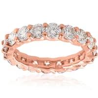 14K Rose Gold 3 CT TDW Diamond U Prong Eternity Wedding Ring