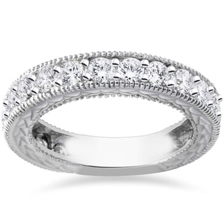 14k White Gold 1 3/8ct TDW Diamond Vintage Hand Engraved Stackable Wedding Ring