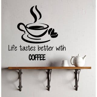 Coffee Wall Decal Quote Life Tastes Better With Coffee Kitchen Decor Coffee Interior Mural Sticker D https://ak1.ostkcdn.com/images/products/14316992/P20898022.jpg?impolicy=medium