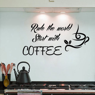Coffee Wall Decals Quote Rule The World Start With Coffee Kitchen Interior Design Cafe Sticker Decal size 22x30 Color Black