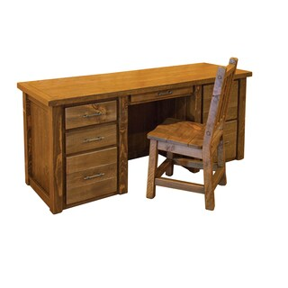 Barn Wood Style Timber Peg Executive Desk -With Chair- Amish made