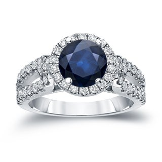Auriya 14k Gold 3/4ct Blue Sapphire and Diamond Halo Engagement Ring