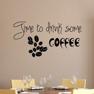 Quote Coffee Beans Decal Time To Drink Some Coffee Kitchen Wall Home Design Cafe Decor Sticker Decal size 22x35 Color Black