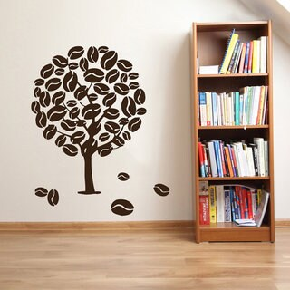 Coffee Wall Decals Tree Decal Kitchen Decor Floral Design Interior Dorm Design Living Room Sticker Decal size 22x26 Color Brown