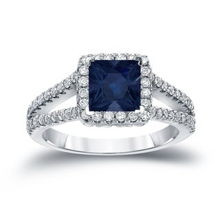 Auriya 14k Gold 3/4ct Princess-Cut Blue Sapphire and Diamond Halo Engagement Ring