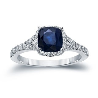 Auriya 14k Gold 1ct Cushion-Cut Sapphire and Diamond Halo Engagement Ring