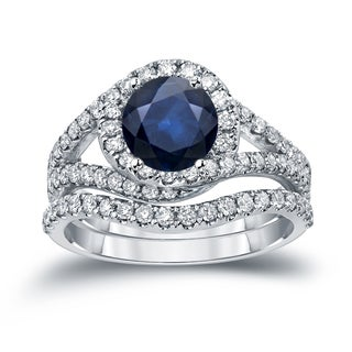 Auriya 14k Gold 7/8ct Blue Sapphire and 1ct TDW Round Cut Diamond Halo Engagement Ring (H-I, SI1-SI2)